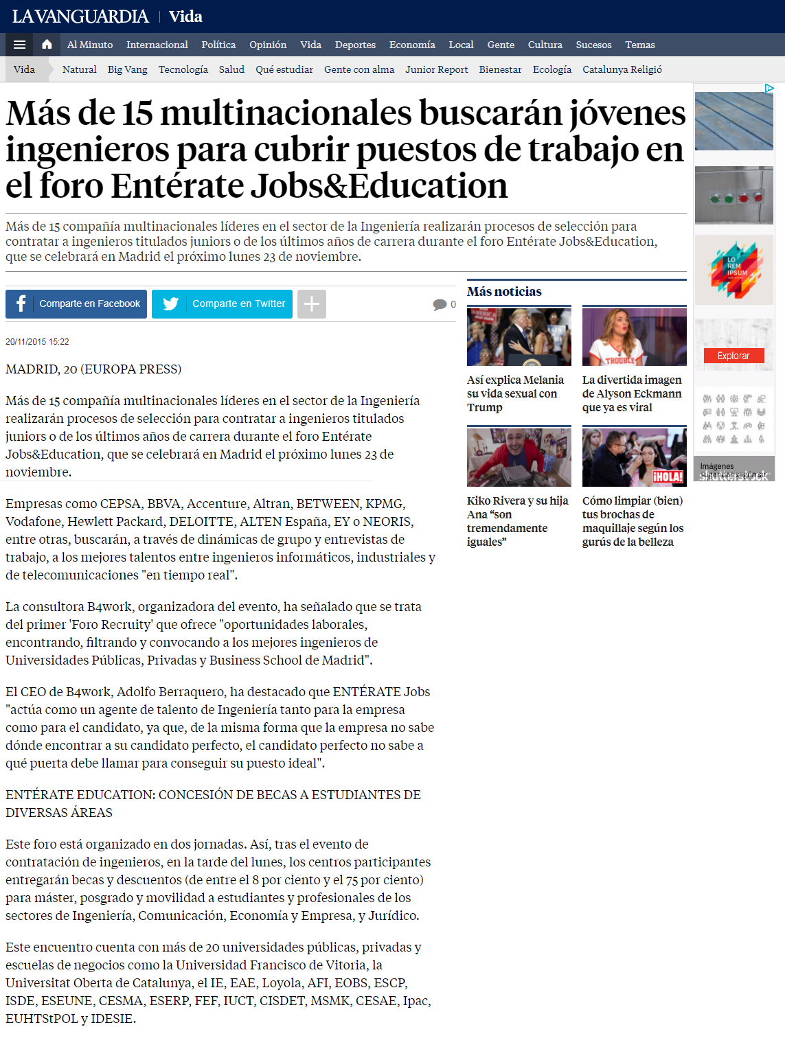 La Vanguardia article on BETWEEN Technology talent events