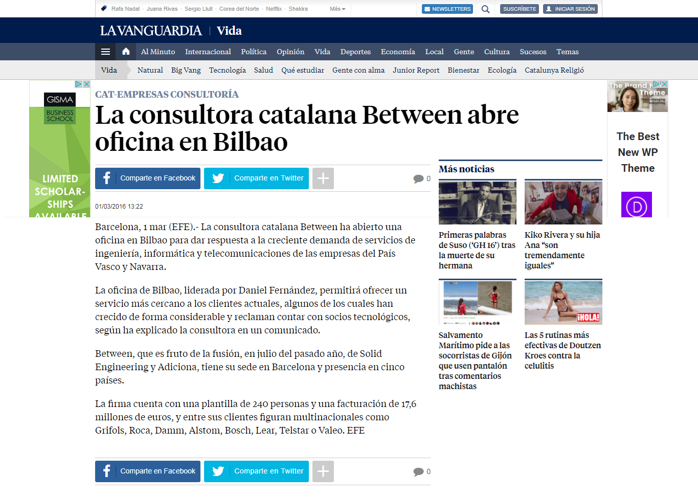 La Vanguardia article: Between opens new office in Bilbao