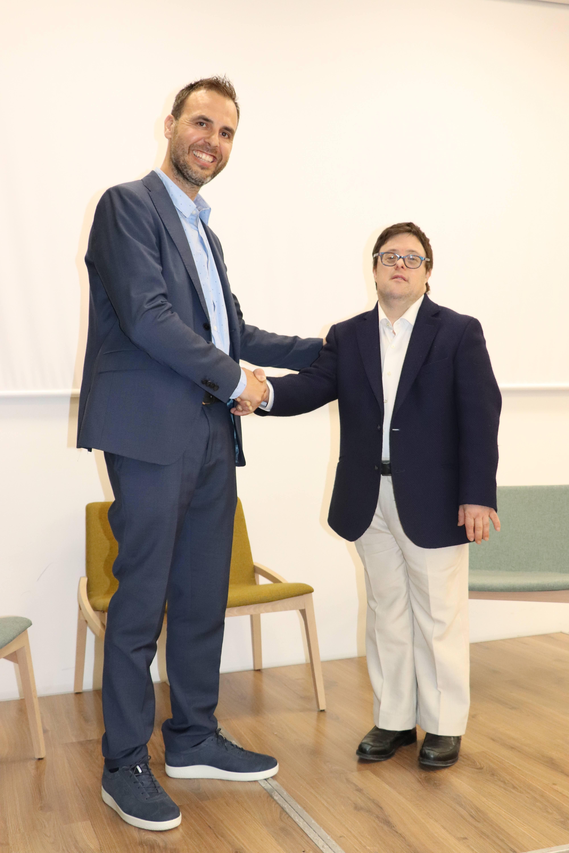 Pau Guarro y Pablo Pineda en la jornada de diversidad